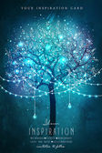 Inspiration card for wedding date birthday tea party Beautiful magic tree with decorative lights for party