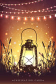 Amazing vintage lanten on grass with magical lights of fireflies at night sky background Unusual vector illustration Inspiration card for wedding date birthday  holiday or garden party