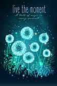 Amazing dandelions with magical lights of fireflies at night sky background Unusual vector illustration Inspiration card for wedding date birthday holiday or garden party