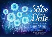 Amazing dandelions with magical lights of fireflies at night sky background Inspiration card for wedding date birthday holiday or garden party Save the Date