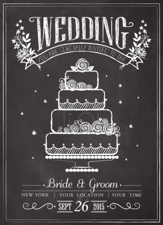 Wedding invitation vintage card. Wedding cake. Freehand drawing on the chalkboard