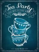 Illustration with the words Tea Party with cups Freehand drawing with imitation of chalk sketch