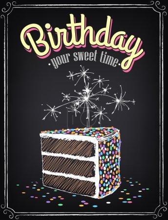 Illustration pour Invitation carte postale à la fête d'anniversaire avec une tranche de gâteau. Dessin à main levée avec imitation de croquis à la craie - image libre de droit