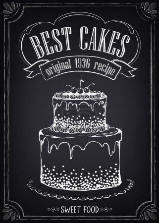 Illustration pour Affiche Vintage Meilleurs gâteaux. Dessin à main levée avec imitation de croquis à la craie . - image libre de droit