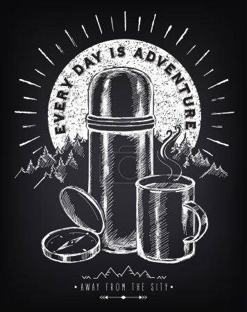 Illustration pour Poster vintage inspiration voyage avec thermos et tasse de café, boussole. Paysage montagneux. Forest. Au lever du soleil. Éléments tribaux. Dessin à main levée avec imitation de croquis à la craie - image libre de droit