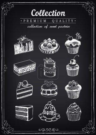 Set von handgezeichneten Vektorsymbolen Gebäck. Sammlung von Cupcakes.