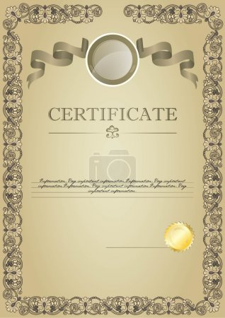beige certificate with ribbon and emblem