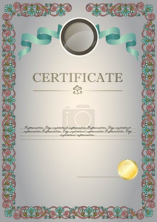 grey certificate with ribbon and emblem