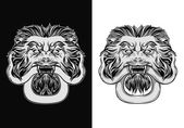 Engraved lion head door knocker Lion with snake Hand drawn