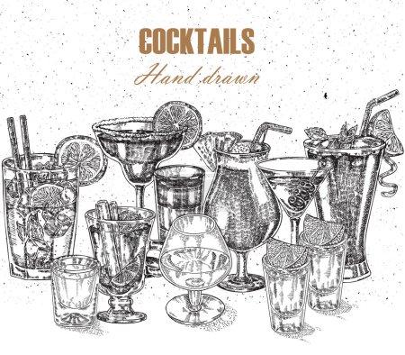 Illustration pour Illustration à la main. Boissons vintage design vectoriel dans le style croquis. Set de cocktails alcoolisés - image libre de droit