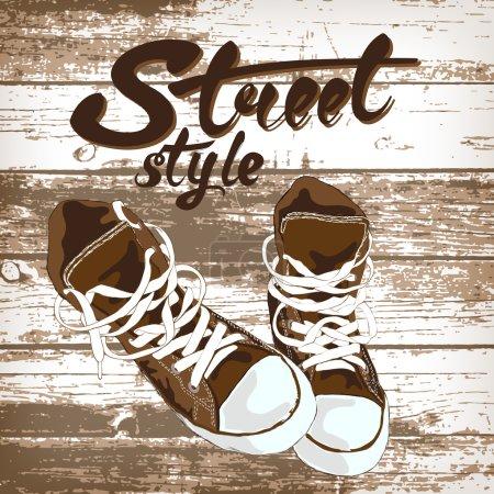 Sport shoe graphic design on wooden background.