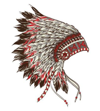 Native american indian chief headdress. Vector illustration