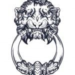 Lion head door knocker. Hand drawn vector illustra...