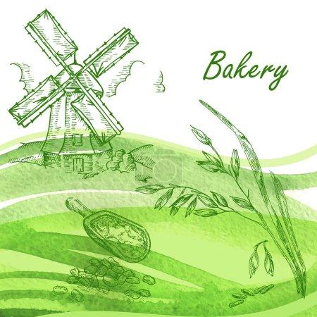 Bakery set. Hand drawn windmill, oats, grain. Vector illustration
