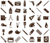 Brown icons attribute art and stationery in white background