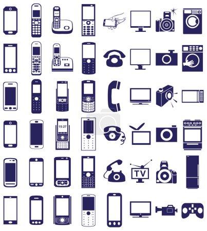 telephone, equipment icons on white