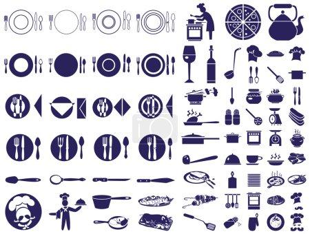 Illustration pour Icônes bleues sur fond blanc sur le sujet restaurant, nourriture, chef, table - image libre de droit