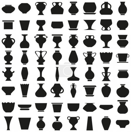 vases and pots of icons on white
