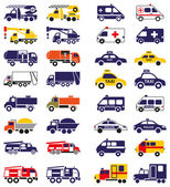 special vehicles icons on white