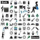bath and sauna icons on white
