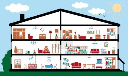 Illustration pour Image pièces intérieures avec mobilier dans le contexte de la maison sur fond blanc - image libre de droit