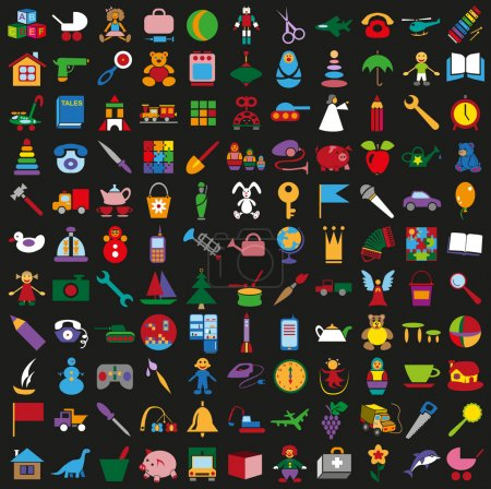 Toys colorful icons on black background