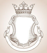 Hand-drawn highly detailed Coat of Arms illustration  Copy space available on shield and banner for your text or image  Colors can be edited easily
