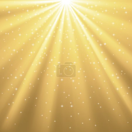 Illustration for Rays of light on a golden background covered with bright stars.  File version is AI eps 8.  Adobe Illustrator's gradient mesh used for the gold rays.  File is layered for easy editing. - Royalty Free Image