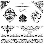 Set of black vector ornaments including scrolls repeating borders rule lines and corner elements