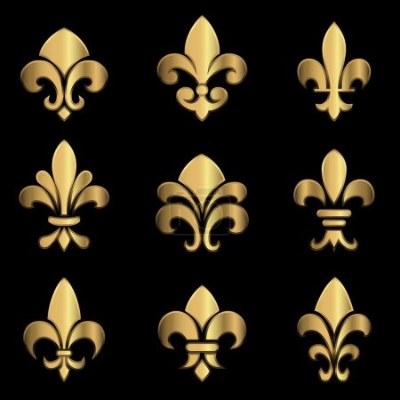 Illustration for Set of gold Fleur De Lis elements.  Colors in gradients are global, so they can be changed easily.  Each element is grouped individually for easy editing. - Royalty Free Image