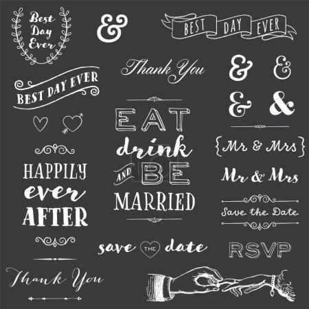 Illustration pour Collection de craie mariage typographie messages et graphiques - image libre de droit