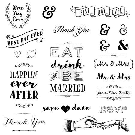 Illustration pour Collection de messages de typographie de mariage dessinés à la main et graphiques - image libre de droit