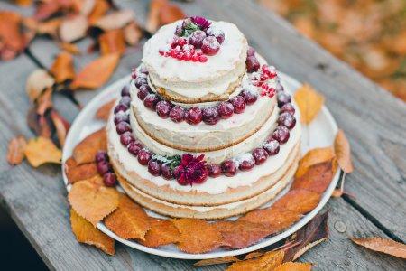 Photo pour Gâteau de mariage d'automne sur un stand - image libre de droit