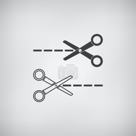 Illustration pour Ciseaux plat gris icône vecteur - image libre de droit
