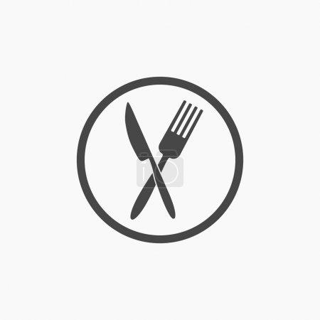 Illustration pour Fourche croisée et couteau plat icône vecteur . - image libre de droit