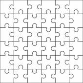 Jigsaw puzzle vector blank simple template 36 pieces