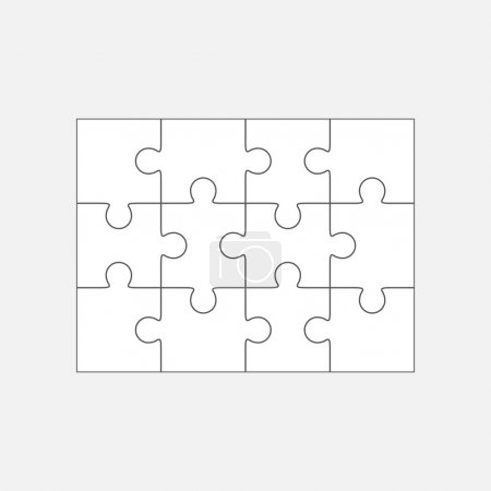 Jigsaw puzzle blank template 4x3, twelve pieces