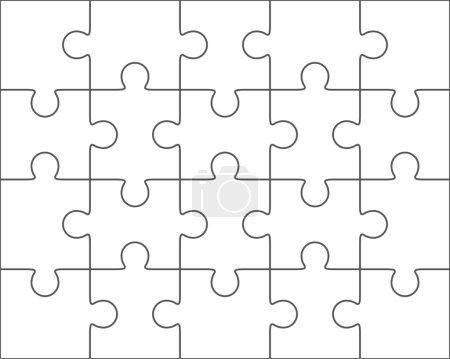 Jigsaw puzzle blank template 4x5, twenty pieces