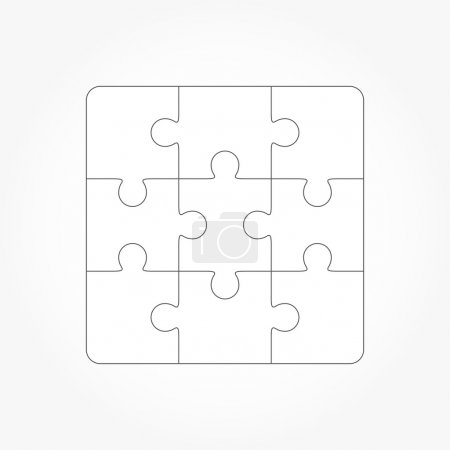 Jigsaw puzzle blank template of nine pieces