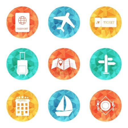 Illustration pour Icônes de voyage ensemble vecteur plat de couleur. SPE 10 - image libre de droit