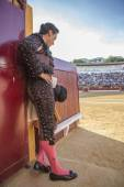 Spainish bullfighter totally focused moments before leaving to fight in Bullring of Andujar, Spain