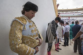 Spainish bullfighter Curro Diaz totally focused moments before leaving to fight in Bullring of Jaen, Spain