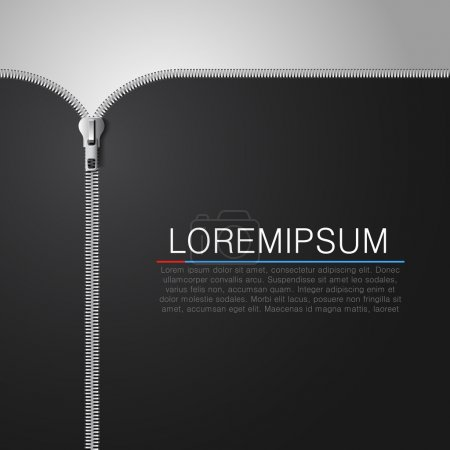 Black cloth background with open metallic zipper.