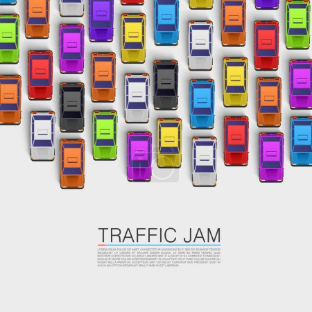 Illustration pour Un embouteillage sur la route. Fond vectoriel - image libre de droit