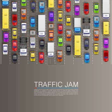 Illustration pour Confiture raffique sur la route. Fond vectoriel - image libre de droit