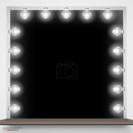 Mirror with bulbs for makeup.