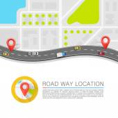 Paved path on the road Vector background