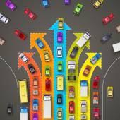 traffic jam with directional arrows