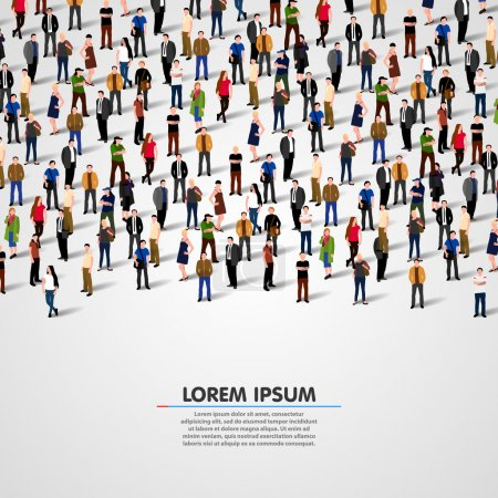 Large group of people on white background. Vector ...