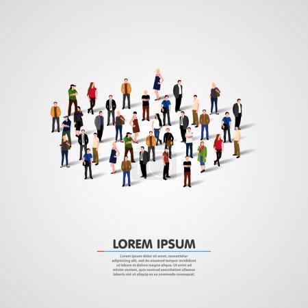 Photo pour Modèle de brochure publicitaire auprès de la foule. Illustration vectorielle - image libre de droit